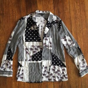 Women's Button Down Shirt - Polka Dot and Floral
